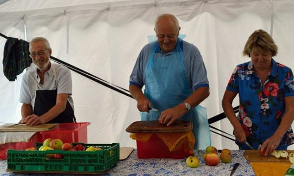 Chopping apples ready for apple pressing at the Autumn Fair